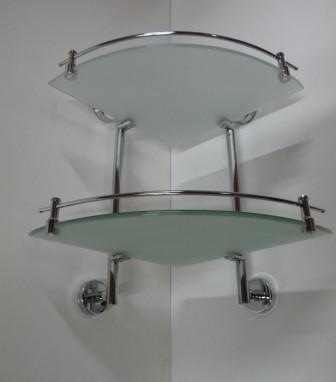 Полка угловая стеклянная 2х этажная с бортиком Rainbowl Long 2243-2 полка угловая стеклянная 2х этажная с бортиком 27 см langberger 70152