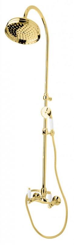 Душевая колонна золото 24 карат, ручки белые Cezares First FIRST-CD-03/24-Bi цена