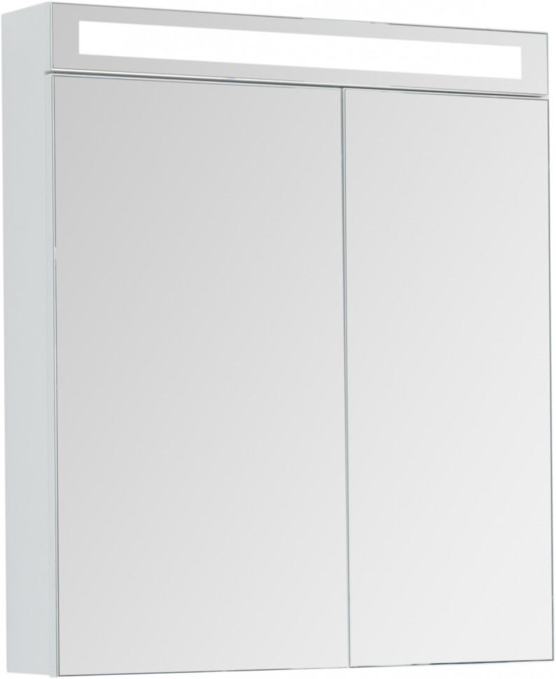 Зеркальный шкаф 70х80 см белый глянец D Max 77.9007W