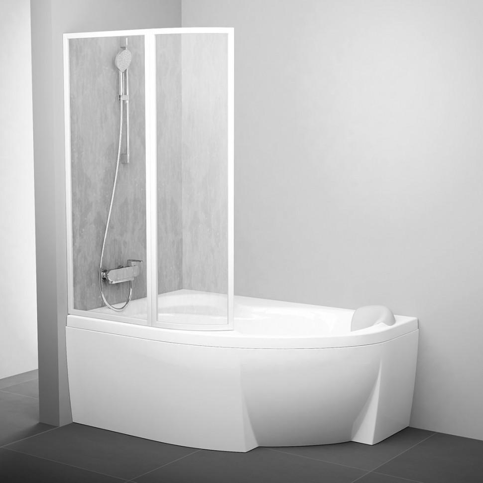 Шторка для ванны 89 см Ravak VSK2 Rosa 140 L белый rain 76L7010041 шторка на ванну ravak vsk2 rosa 170 l 170х150 см левая рейн 76lb010041