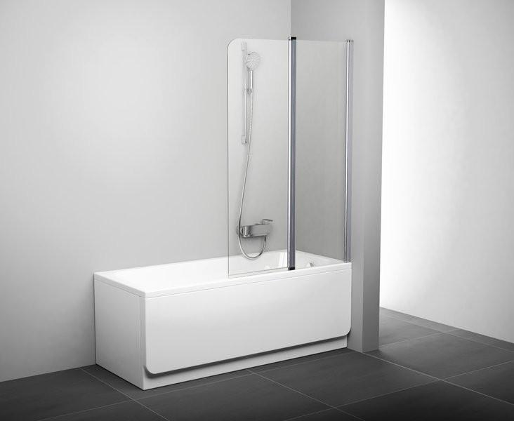 Шторка для ванны подвижная двухэлементная Ravak CVS2-100 P сатин+транспарент 7QRA0U00Z1