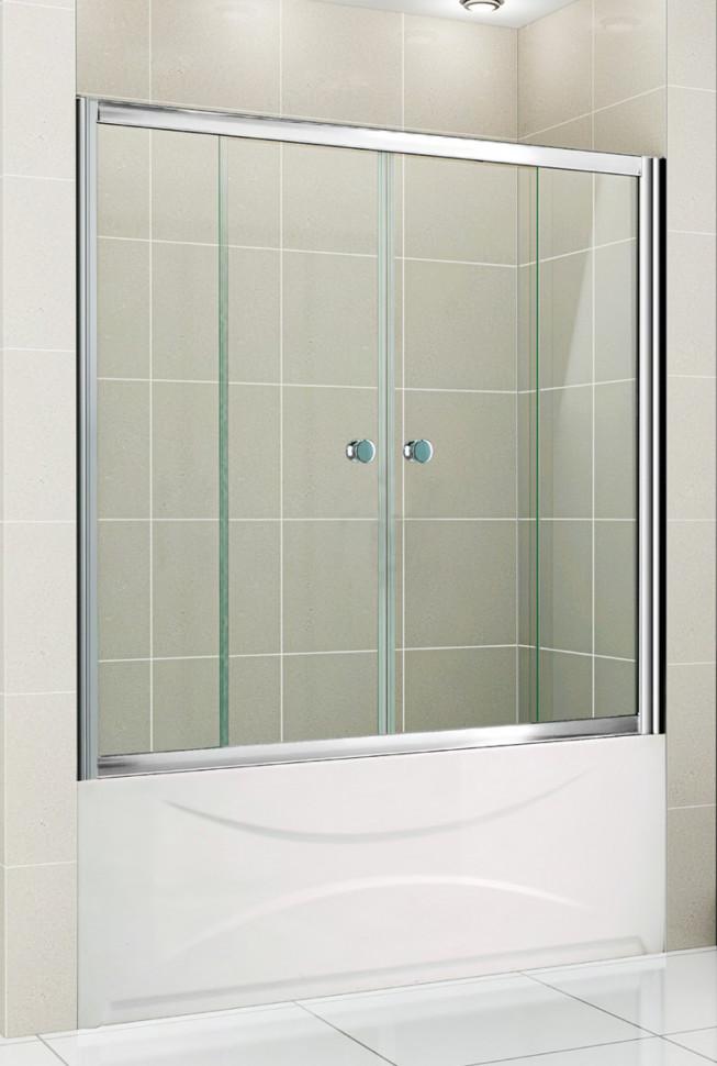 Шторка для ванны Cezares Pratico 150 см прозрачное стекло PRATICO-VF-2-150/140-C-Cr душевая шторка на ванну cezares 150см uno vf 2 150 145 c cr
