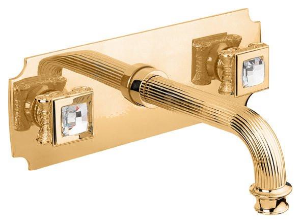 Встраиваемый смеситель на раковину золото 24 карата, ручки swarovski Cezares Olimp OLIMP-BLS2-03/24-Sw