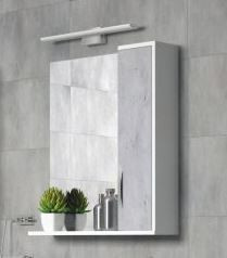 Зеркальный шкаф 75х70 см белый глянец/бетон Corozo Чикаго SD-00000303 фото