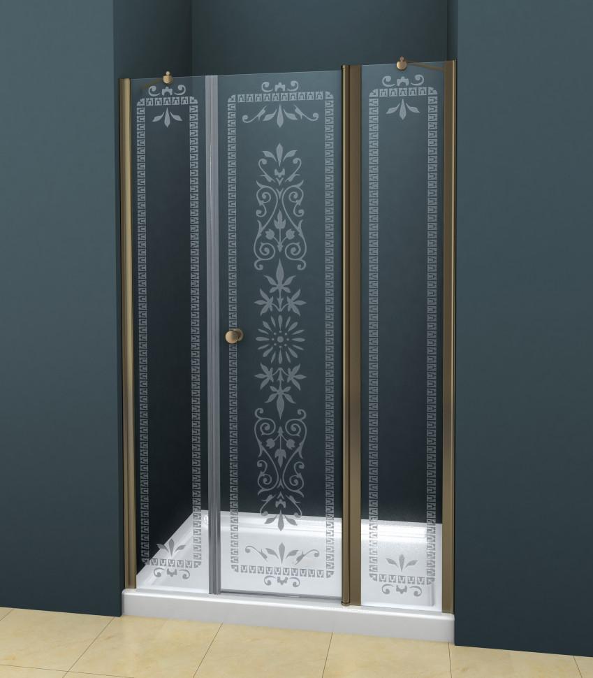 Душевая дверь распашная Cezares Royal Palace 185 см прозрачное с матовым узором ROYAL PALACE-A-B-13-90+60/40-CP-Br душевая дверь в нишу cezares royal palace royal palace a b 12 60 40 cp br