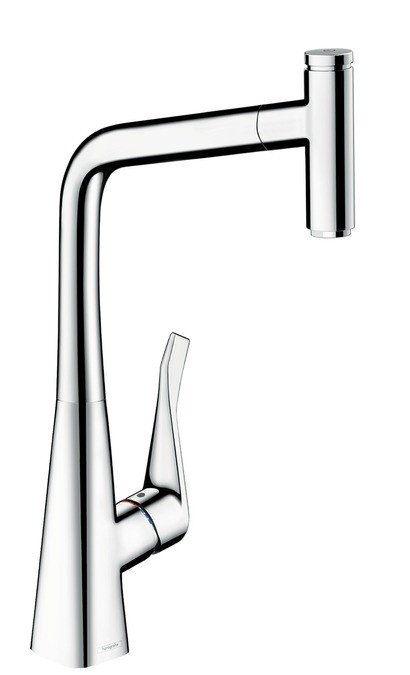 Смеситель для кухни 320 с выдвижным изливом Hansgrohe Metris Select M71 14884000 смеситель для кухни мойки hansgrohe metris select 14884000 однорычажный хром