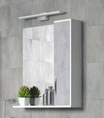 Зеркальный шкаф 65х70 см белый глянец/бетон Corozo Чикаго SD-00000302 фото