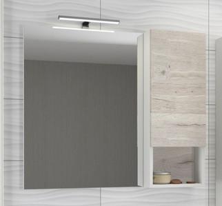 Зеркальный шкаф 90х80 см дуб дымчатый/белый матовый Comforty Ганновер 00004142379 зеркальный шкаф comforty кёльн 88 дуб темный 00004147987