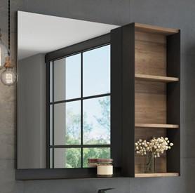 Зеркальный шкаф 88х80 см дуб темный/черный муар Comforty Кёльн 00004147987 зеркальный шкаф comforty кёльн 88 дуб темный 00004147987