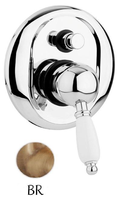 Смеситель для ванны бронза, ручка белая Cezares Elite ELITE-VDIM-02-Bi
