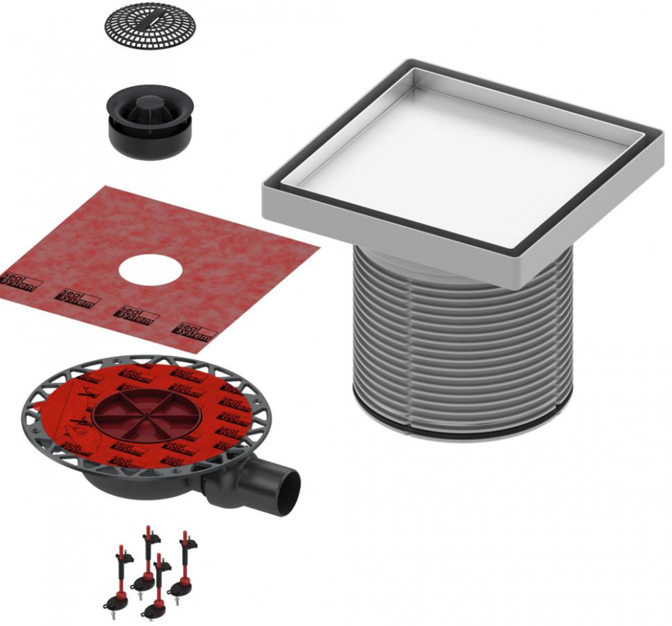 Душевой трап 150x150/50 мм под плитку хром Tece TECEdrainpoint S plate KDP-L50