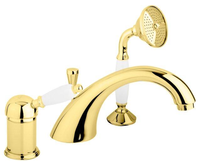 Смеситель на борт ванны золото 24 карат, ручка белая Cezares Elite ELITE-BVDM-03/24-Bi