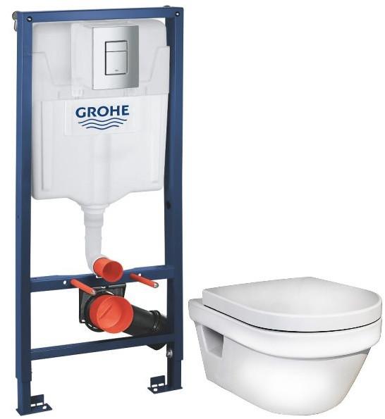 Комплект подвесной унитаз Gustavsberg Hygienic Flush 5G84HR01 + система инсталляции Grohe 38772001 чаша унитаза подвесная gustavsberg hygienic flush wwc 5g84hr01 с сиденьем микролифт с горизонтальным выпуском