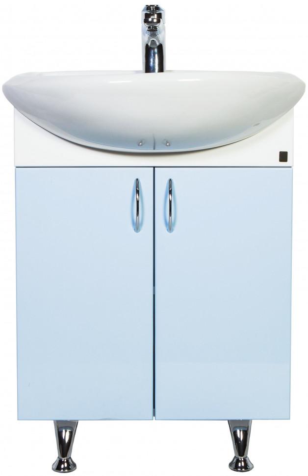 Тумба с раковиной белый глянец/голубой глянец 51 см Orange Роса Ro-50TUB
