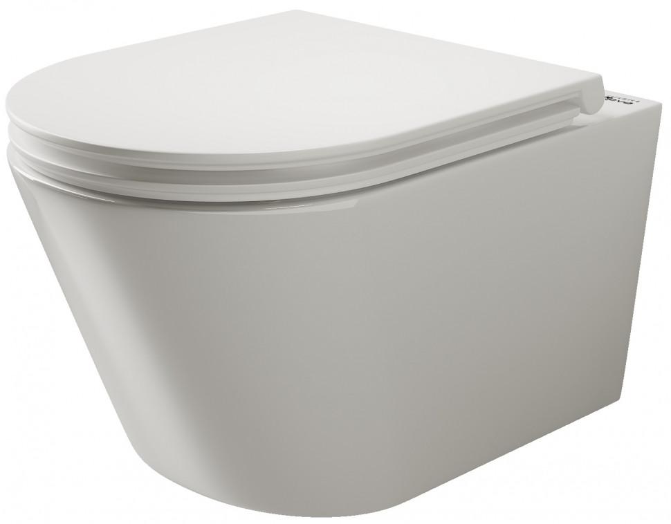 Подвесной безободковый унитаз с сиденьем микролифт Ceramica Nova Trend 111010S бордюр gracia ceramica aquarelle lilac 01 6 5x60