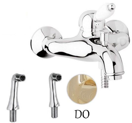 Смеситель на борт ванны золото 24 карат, ручка белая Cezares Elite ELITE-PBVM-03/24-Bi