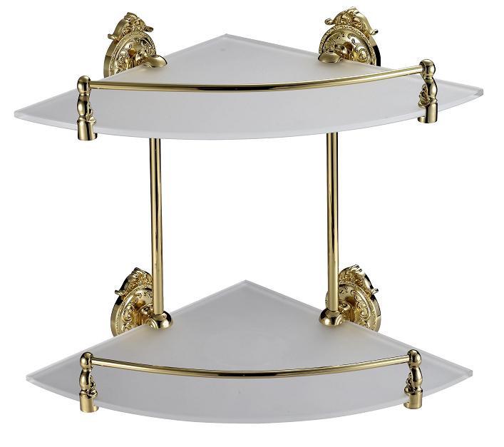 Полка 2х этажная стеклянная угловая 28 см с бортиком Hayta Classic Gold 13910-2/GOLD полка угловая стеклянная 2х этажная с бортиком 27 см langberger 70152