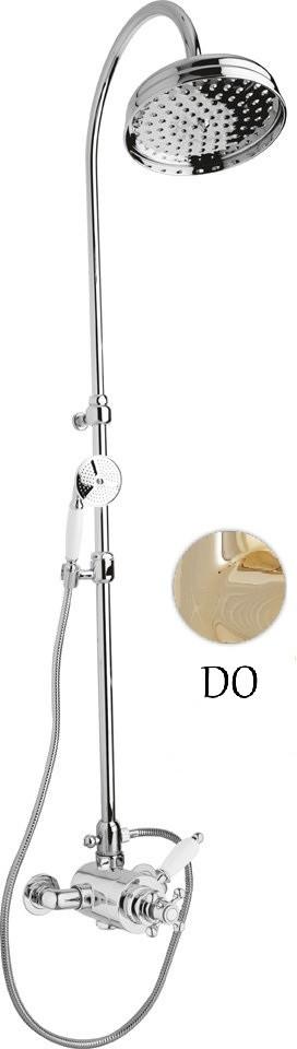 Душевая колонна с термостатическим смесителем золото 24 карат, ручка белая Cezares Elite ELITE-CD-T-03/24-Bi