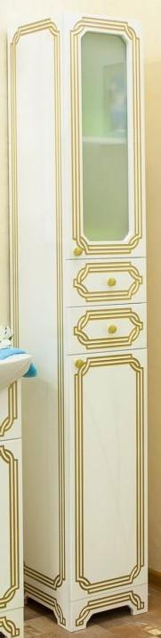 Пенал напольный белый золотая патина R Sanflor Каир H0000000210