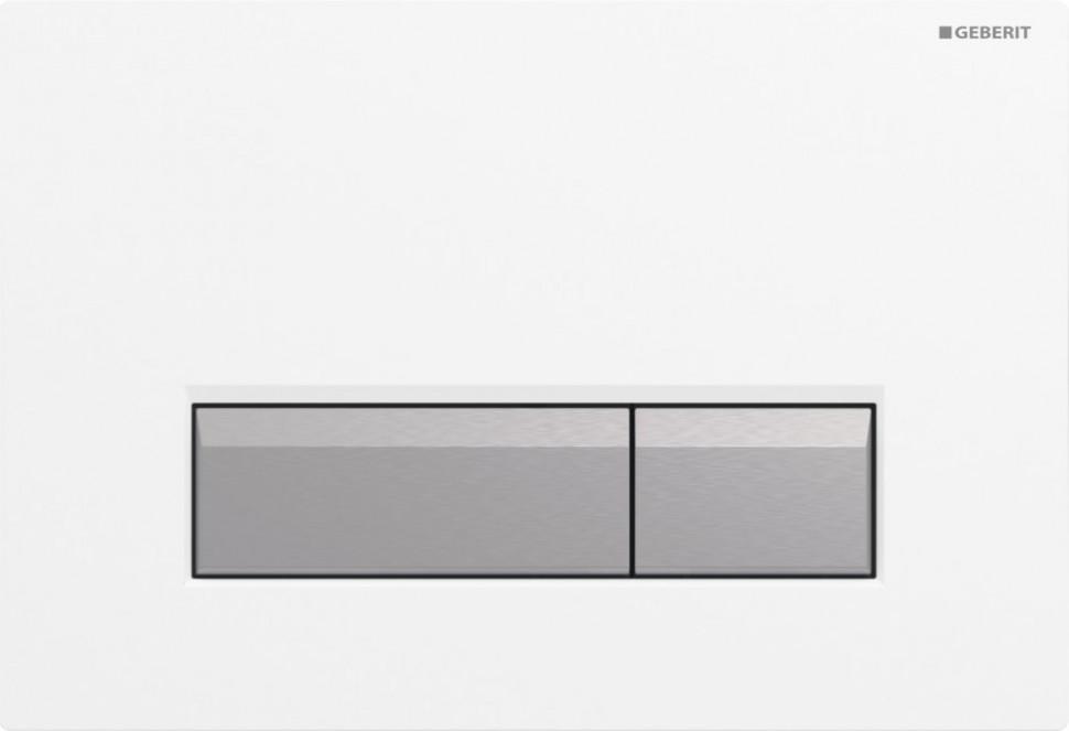 Смывная клавиша Geberit Sigma40 белый/матовый алюминий для двойного смыва со встроенной системой удаления запаха 115.600.KQ.1 смывная клавиша белая villeroy