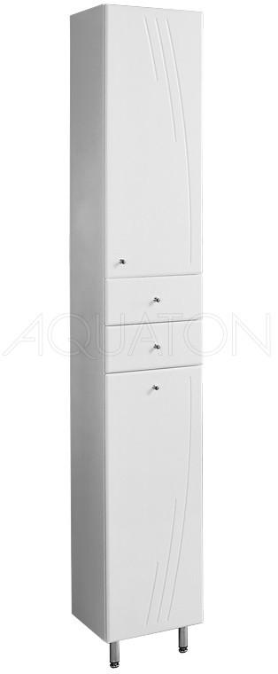 Пенал напольный белый глянец бельевой корзиной R Акватон Минима 1A132303MN01R