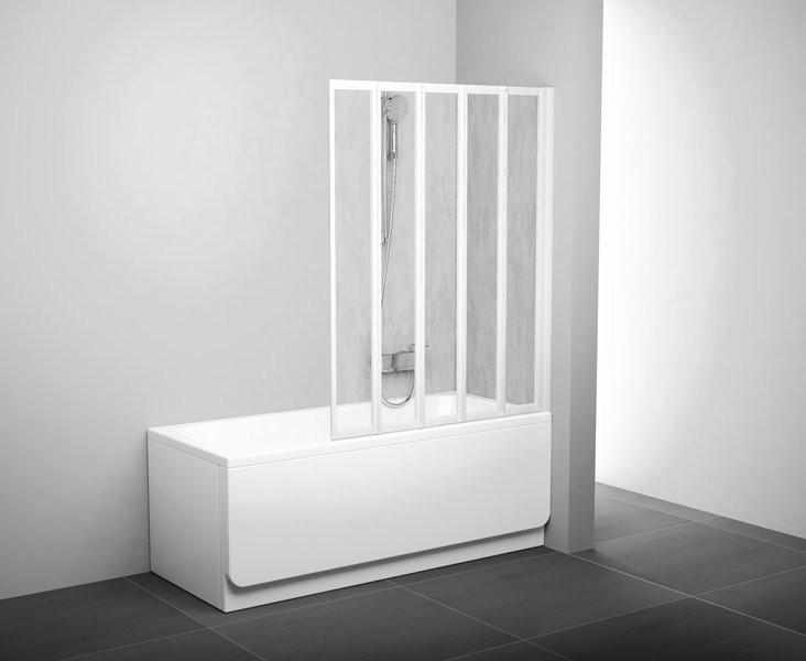 Шторка для ванны складывающаяся пятиэлементная Ravak VS5 белая+рейн 794E010041 шторка для ванны ravak vs2 105 профиль хром матовое стекло