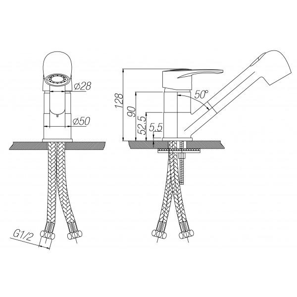 Смеситель Paulmark Holstein Ho214014-328 для кухонной мойки, бежевый вентилятор ванная комната вентиляция