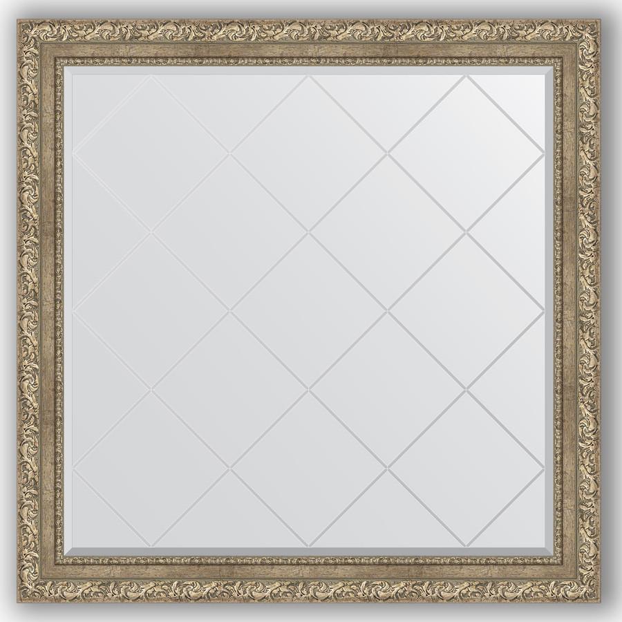 Зеркало 105х105 см виньетка античное серебро Evoform Exclusive-G BY 4444 зеркало evoform exclusive g 72х55 виньетка античное серебро