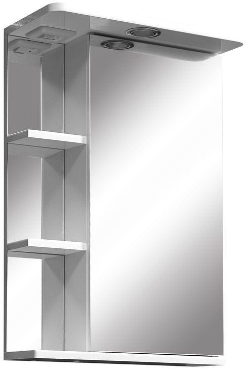 цена на Зеркальный шкаф 45х70 см белый глянец/белый матовый R Stella Polar Нелея SP-00000223