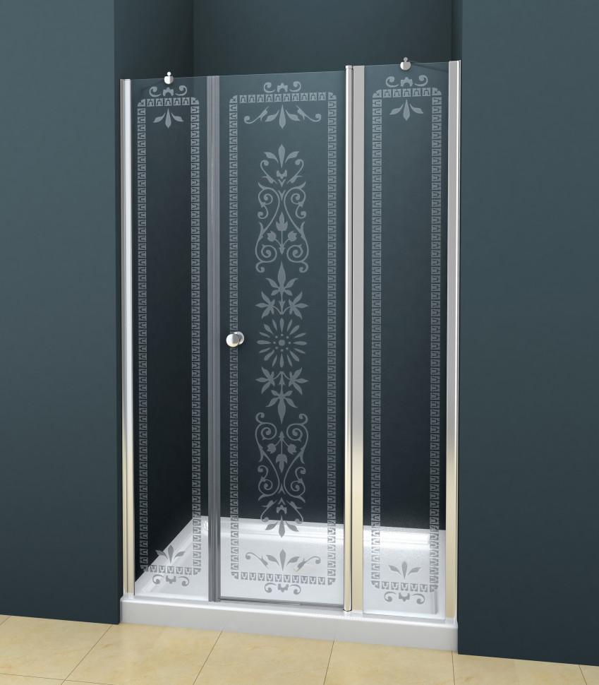 Душевая дверь распашная Cezares Royal Palace 185 см прозрачное с матовым узором ROYAL PALACE-A-B-13-100+60/30-CP-Cr душевая дверь в нишу cezares royal palace royal palace a b 11 100 90 cp cr