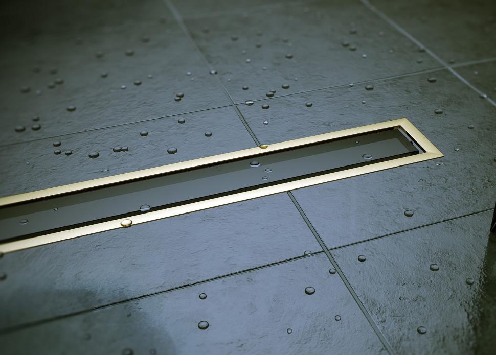 Душевой канал 550 мм Pestan Confluo Premium Black Glass Gold Line 13100096 фото