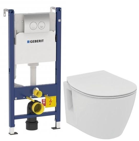 Комплект подвесной унитаз Ideal Standard Connect Space E804601 + E772401 + система инсталляции Geberit 458.124.21.1