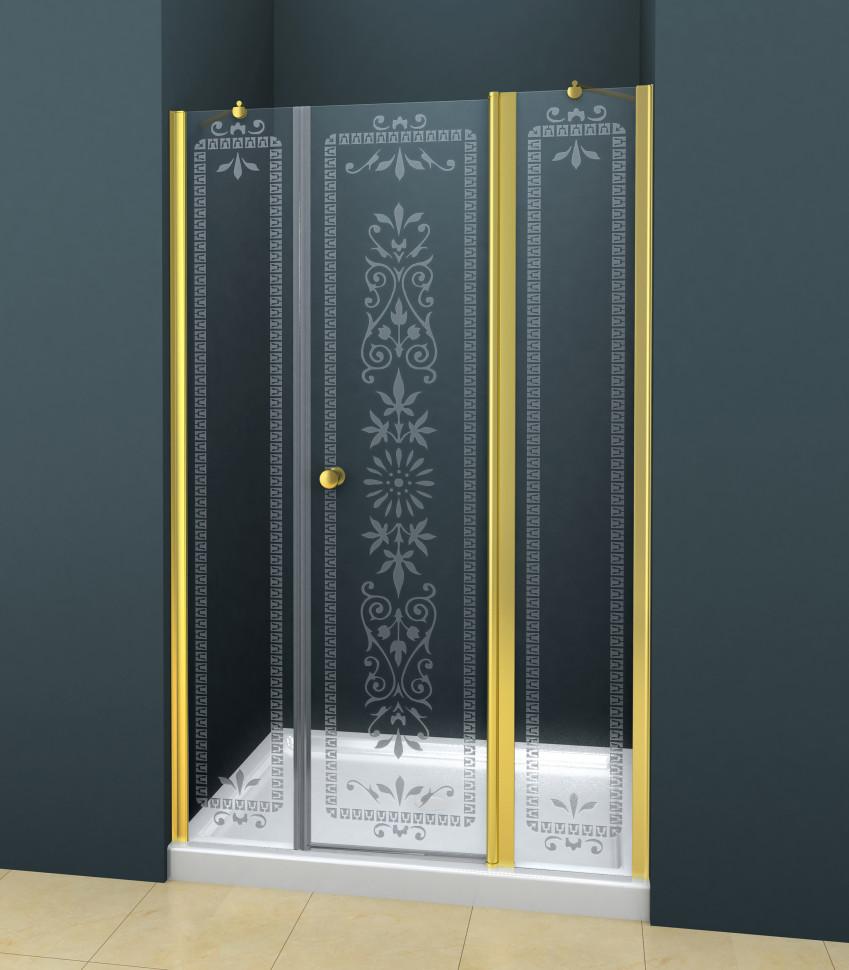 Душевая дверь распашная Cezares Royal Palace 185 см прозрачное с матовым узором ROYAL PALACE-A-B-13-100+60/30-CP-G душевая дверь распашная cezares royal palace 100 см прозрачное с матовым узором royal palace a b 12 60 40 cp g