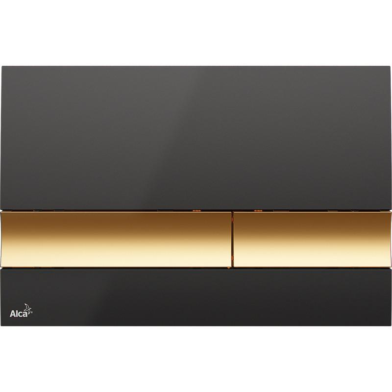 Смывная клавиша черный/золото для двойного смыва AlcaPlast M1728-5 цена