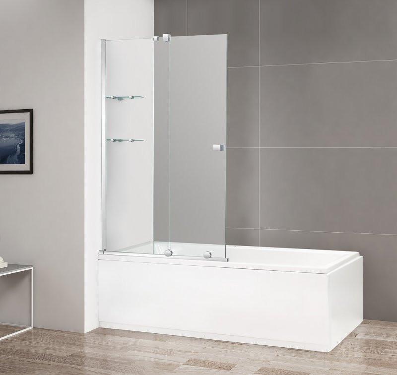 Шторка для ванны 90 см Cezares STREAM-VFS-11-90/150-C-Cr прозрачное