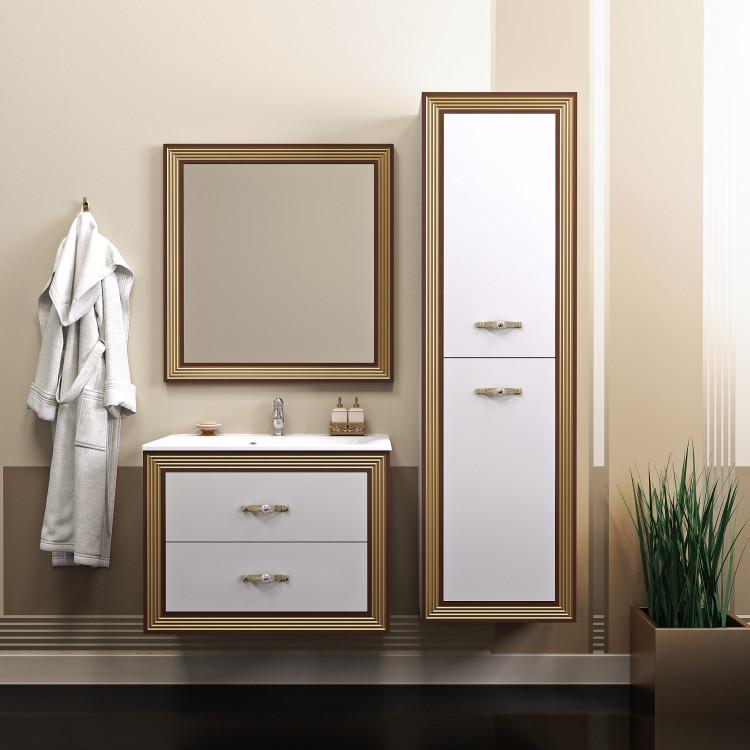Тумба с раковиной белый золотая патина 80 см Opadiris Карат KARAT80TG opadiris мебель для ванной opadiris карат 80 серебряная патина
