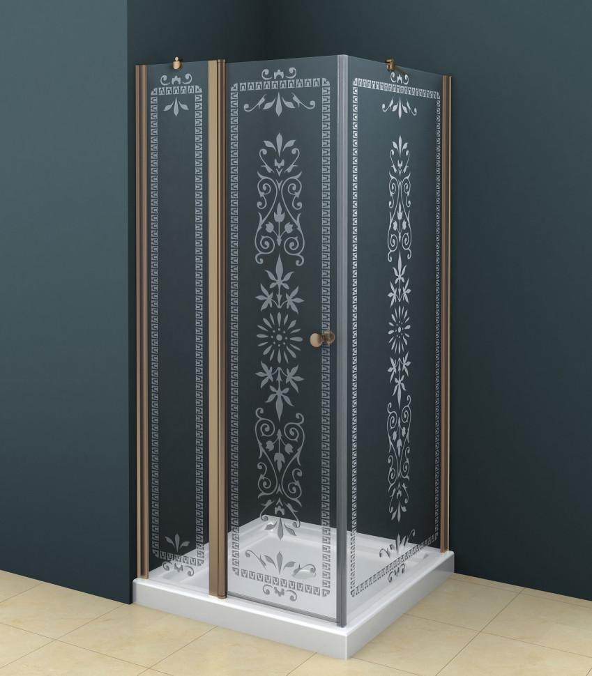 Душевой уголок Cezares Royal Palace 90х90 см прозрачное c матовым узором ROYAL PALACE-A-A-12-90-CP-Br