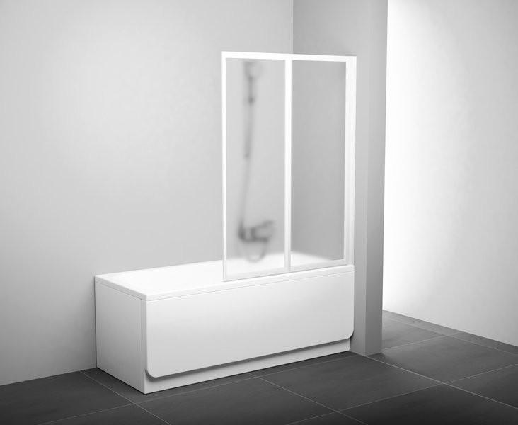 Шторка для ванны складывающаяся двухэлементная Ravak VS2 105 белая+транспарент 796M0100Z1 шторка для ванны складывающаяся двухэлементная ravak vs2 105 сатин grape 796m0u00zg
