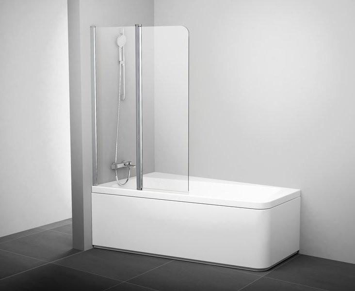 Шторка для ванны двухэлементная к ваннам 10° Ravak 10CVS2-100 L блестящий+транспарент 7QLA0C03Z1