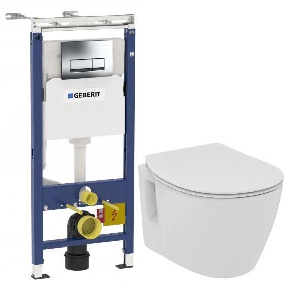 Комплект подвесной унитаз Ideal Standard Connect Space E804601 + E772401 + система инсталляции Geberit 458.125.21.1