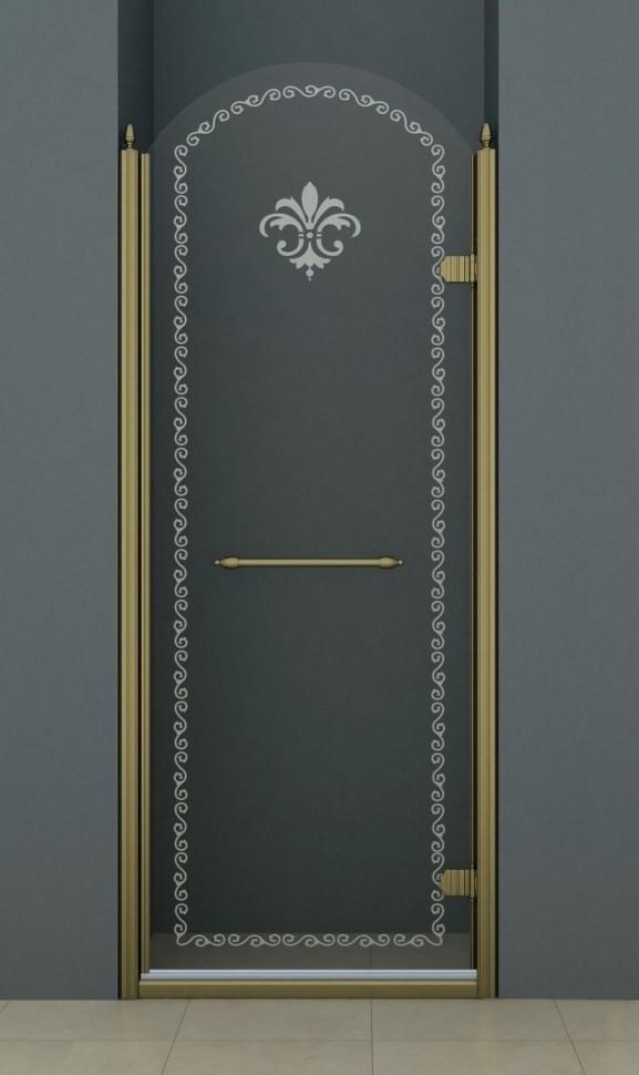 Душевая дверь распашная Cezares Retro 90 см прозрачное c матовым узором RETRO-A-B-1-90-CP-Br-R