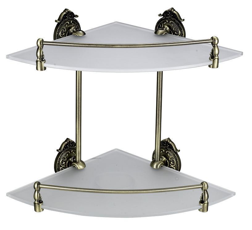 Полка 2х этажная стеклянная угловая 28 см с бортиком Hayta Classic Bronze 13910-2/BRONZE the bronze horseman