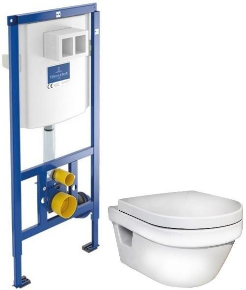 Комплект подвесной унитаз Gustavsberg Hygienic Flush 5G84HR01 + система инсталляции Villeroy & Boch 92246100 фото
