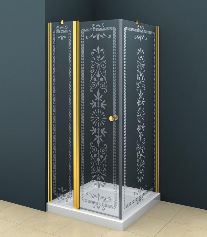 Душевой уголок Cezares Royal Palace 90х90 см прозрачное c матовым узором ROYAL PALACE-A-A-12-90-CP-G