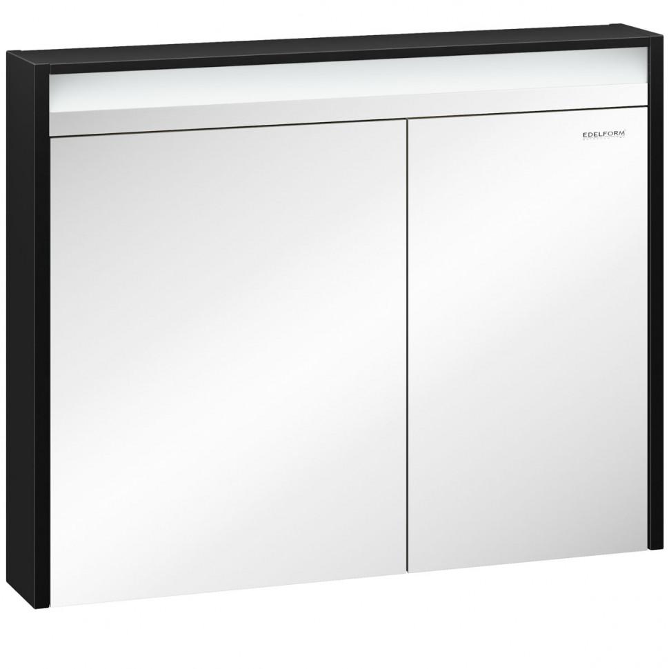 зеркальный шкаф edelform уника 100 белый с дуб гальяно 2 741 45 s Зеркальный шкаф черный глянец 94х74,8 см Edelform Carino 2-750-43-S
