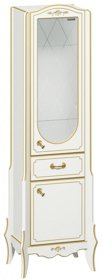 Пенал напольный белый матовый золотая патина R Edelform Luise 3-680-50 тумба белый матовый 56 5 см edelform dijon 35678