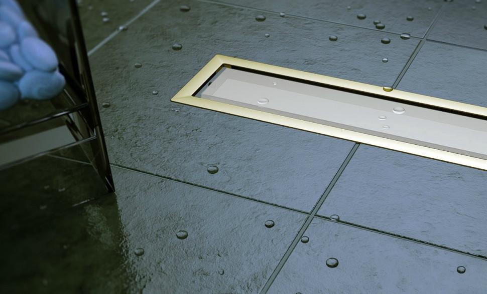 Душевой канал 300 мм Pestan Confluo Premium White Glass Gold Line 13100088 фото