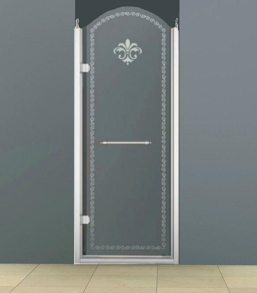 Душевая дверь распашная Cezares Retro 90 см прозрачное c матовым узором RETRO-A-B-1-90-CP-Cr-L