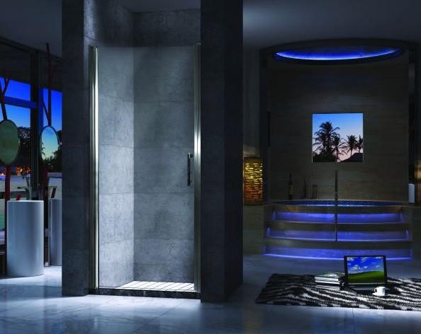 Душевая дверь распашная 90 см прозрачное стекло Esbano ES-90LD(L) шторка для ванны 150 см esbano es 1415 прозрачное
