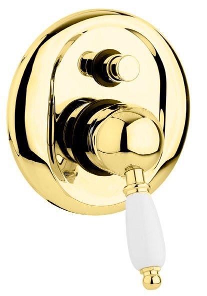 Смеситель для ванны золото 24 карат, ручка белая Cezares Elite ELITE-VDIM-03/24-Bi смеситель для ванны tsarsberg ручка 1202 ис 240051